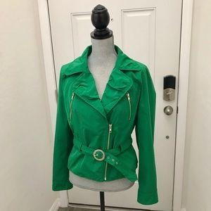 Express Green Belted Biker Jacket Style
